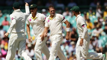 Ryan Harris is congratulated on dismissing Virat Kohli