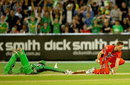 Alex Keath was one of two batsmen who were run out in the final over, Melbourne Stars v Melbourne Renegades, Big Bash League 2014-15, Melbourne, January 10, 2015