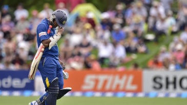 Dimuth Karunaratne was lbw for 5 on his return to ODIs