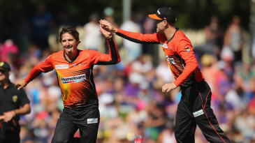 Brad Hogg celebrates the wicket of George Bailey