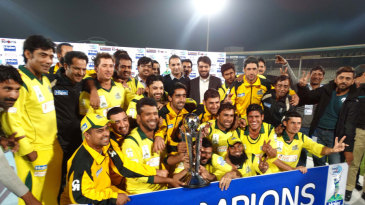 The Khyber-Pakhtunkhwa Fighters players celebrate with the series trophy