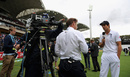 Ian Ward of Sky Sports speaks to Alastair Cook, day five, Australia v England, second Test, Adelaide, December 9, 2013