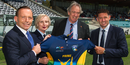 Prime minister Tony Abbott, Cate McGregor, Tony Dell and Michael Hussey at the launch of the Prime Minister's XI match, Canberra, November 20, 2014