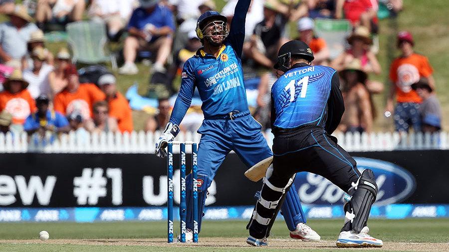 Kumar Sangakkara appeals for an lbw against Daniel Vettori