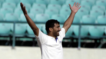 Rishi Dhawan is all smiles on his way to 5 for 90