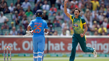 Mitchell Starc dismissed Shikhar Dhawan for 2 in the first over of the game