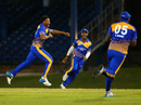 Javon Searles is pumped after taking a wicket, Barbados v Guyana, Nagico Super50 2015, Port of Spain, January 17, 2015