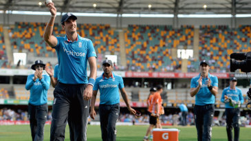 Steven Finn acknowledges the applause after finishing with 5 for 33