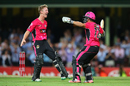 Jordan Silk and Steve O'Keefe are pumped after their win, Sydney Sixers v Sydney Thunder, Big Bash League 2014-15, Sydney, January 22, 2015