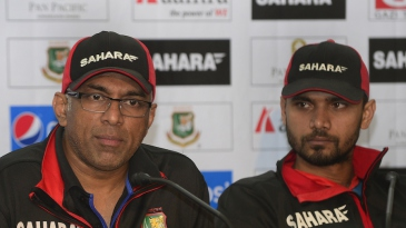 Coach Chandika Hathurusingha and captain Mashrafe Mortaza interact with the press