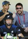 Shane Bond gives the thumbs up as Martin Guptill waits to go out and bat, New Zealand v Sri Lanka, 5th ODI, Dunedin, January 23, 2015