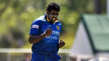 Thisara Perera celebrates Kane Williamson's wicket