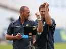 Australia bowling coach Allister de Winter works with Ryan Harris, Nottingham, July 8, 2013