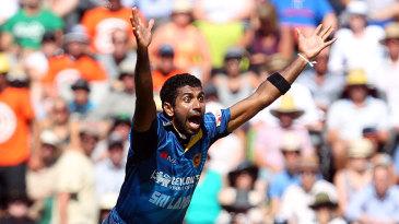 Dhammika Prasad appeals for an lbw against Martin Guptill