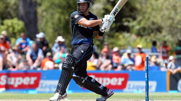 Ross Taylor clubs the ball through the leg side