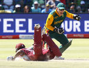 Morne van Wyk completes the run out of Leon Johnson, South Africa v West Indies, 4th ODI, Port Elizabeth, January 25, 2015