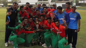 The Bangladesh players pose after winning the series 3-2