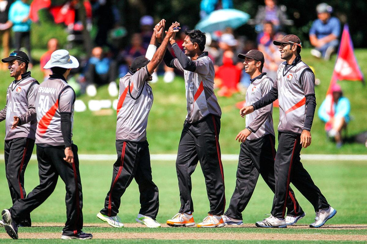 UAE celebrate a wicket