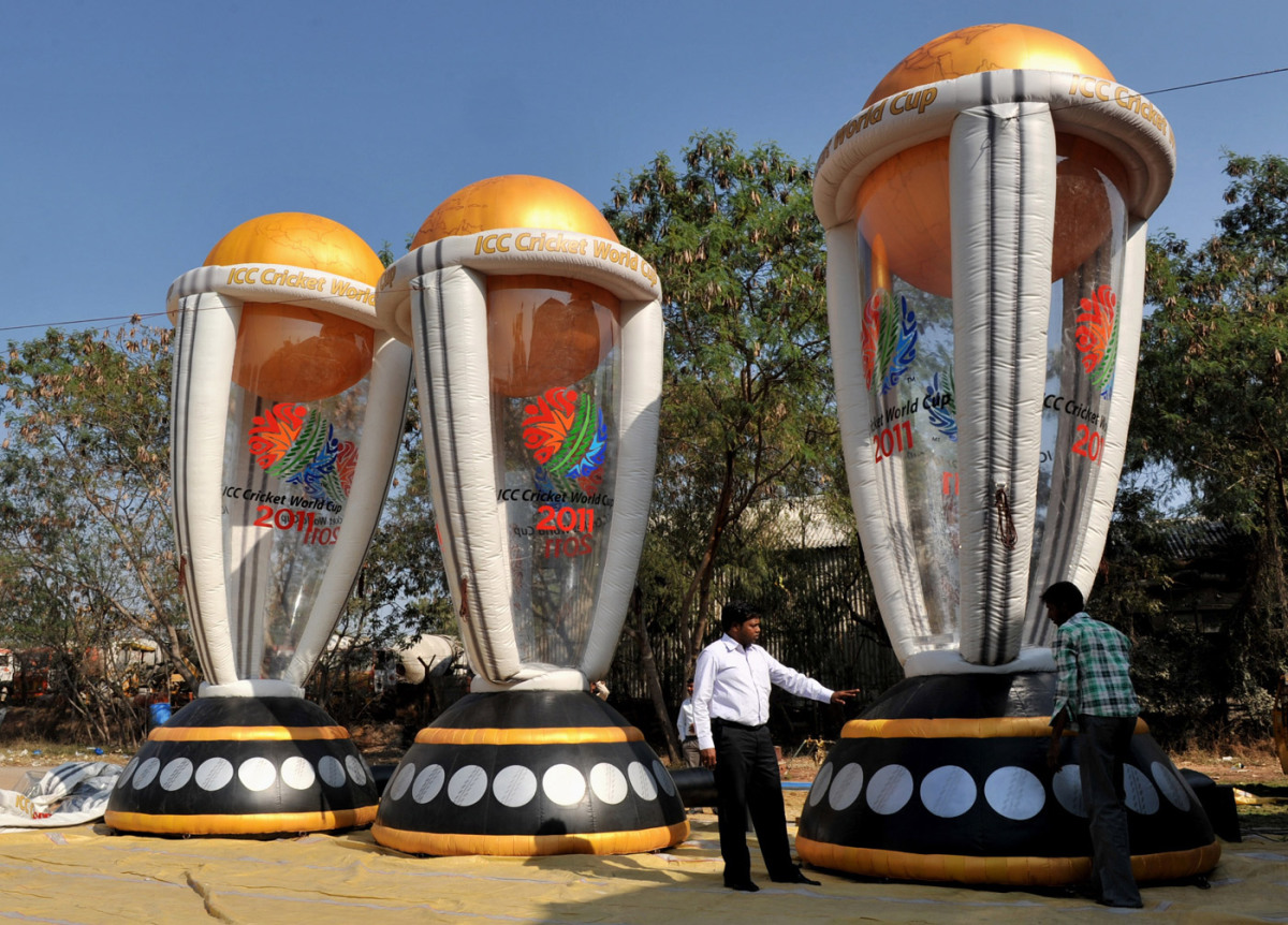 An giant inflatable replica of the World Cup trophy