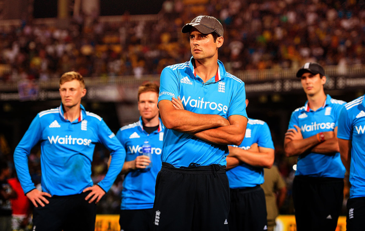 Alastair Cook and his team-mates look dejected after the series loss