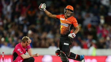 Yasir Arafat celebrates the final-ball victory