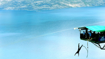 A man bungees in Queenstown
