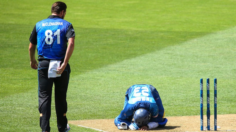 Tillakaratne Dilshan made contact with the stumps while completing a run