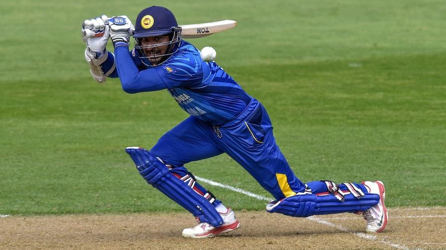 Kumar Sangakkara plays the front-foot drive