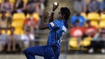 Sri Lanka debutant Dushmantha Chameera in action