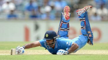 Ambati Rayudu dives to make his ground