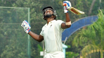Sanju Samson celebrates after scoring a double-century