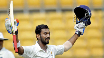 KL Rahul celebrates after scoring his maiden triple-century