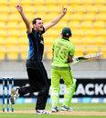 A jubilant Kyle Mills wheels away after trapping Younis Khan lbw, New Zealand v Pakistan, 1st ODI, Wellington, January 31, 2015