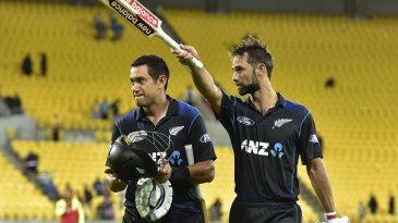 Ross Taylor and Grant Elliott celebrate New Zealand's victory