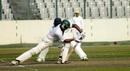 Maisuqur Rahman plays a forward defence, Chittagong Division v Rajshahi Division, National Cricket League, Mirpur, 4th day, February 4, 2015