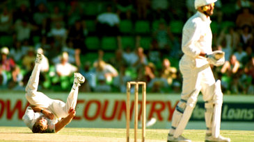 Graham Gooch is caught and bowled by Craig McDermott in his final Test innings