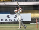 Jalaj Saxena flays the ball during his century, Madhya Pradesh v Bengal, Ranji Trophy, Group A, 1st day, Indore