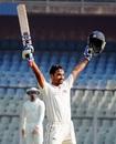 Nikhil Patil celebrates after scoring his maiden first-class ton, Mumbai v Karnataka, 2nd day,  Ranji Trophy, Group A, Mumbai