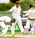 Grant Bradburn kicks the turf in frustration as Yousuf Youhana and Saqlain Mushtaq's partnership builds, New Zealand v Pakistan, 2nd Test, Christchurch, 3rd day, March 17, 2001