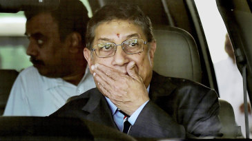 N Srinivasan leaves after the BCCI's emergent working committee meeting