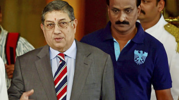 N Srinivasan at an emergent working committee meeting of the BCCI