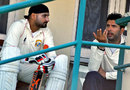 Harbhajan Singh and Yuvraj Singh chat during the Ranji Trophy match against Delhi, Punjab v Delhi, Ranji Trophy 2014-15, Group B, 3rd day, Patiala, February 8, 2015