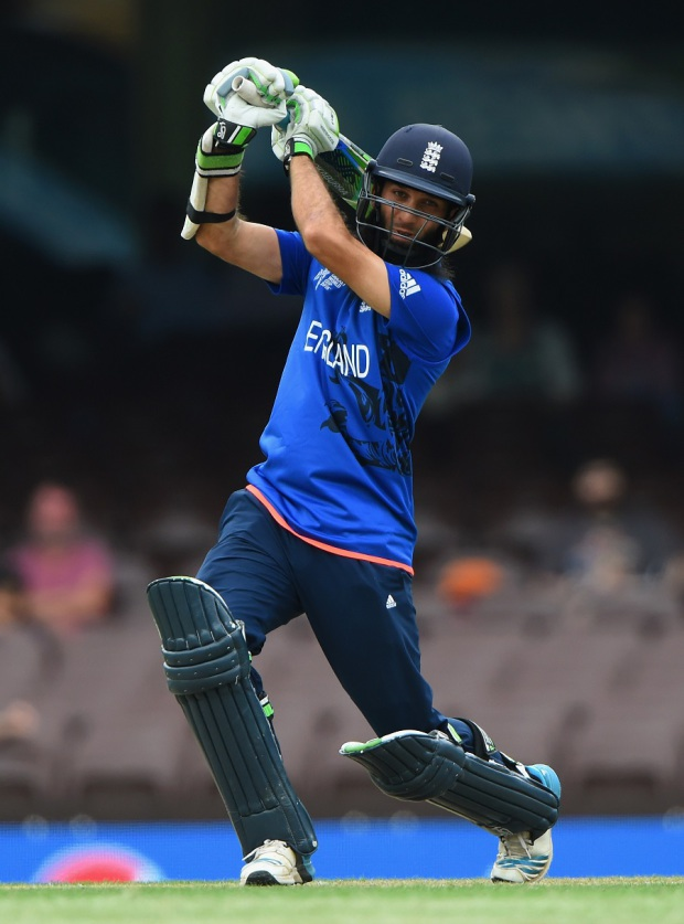 Moeen Ali drives one through the off side
