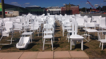A memorial with 185 chairs to commemorate the victims of the Christchurch earthquake