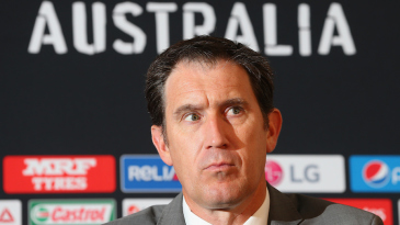 James Sutherland reacts during a press conference