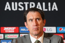 James Sutherland reacts during a press conference, World Cup 2015, Melbourne, February 10, 2015