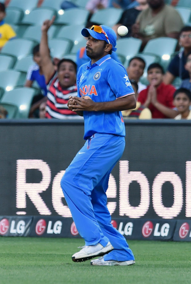 Mohammed Shami drops a catch at the long-on boundary