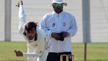 Mohammad Amir bowls during a league game