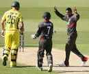 Krishna Chandran celebrates taking a wicket, Australia v UAE, World Cup warm-up, Melbourne, February 11, 2015