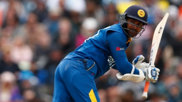 Kumar Sangakkara scored 39 off 38 balls before he was pinned lbw by Trent Boult